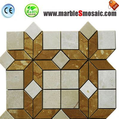 Bathroom Yellow Marble Mosaic Tile Floor