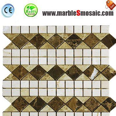Azulejos de mosaico mármol beige de la frontera