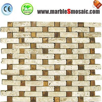 Beige Travertine Glass Mosaic Tile