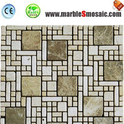 Beige Travertine Mosaic Bathroom Wall