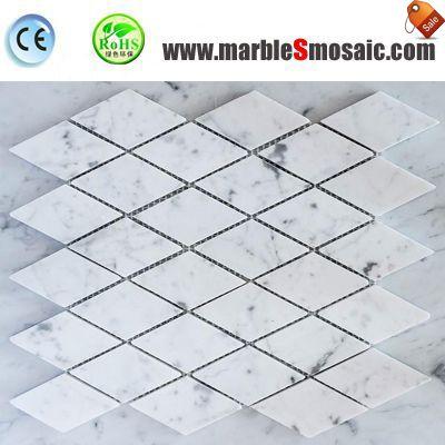 Diamond White Marble Mosaic Tile Bathroom Floor