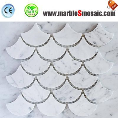 Fish Scale Carrara Marble Mosaic Tile Bathroom Floor