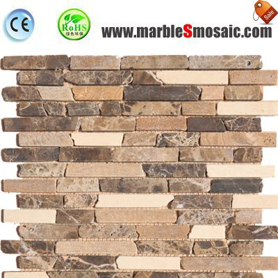 Streifen aus Marmor Mosaik Fliesen Badezimmerwand