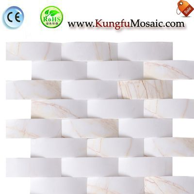 Arched 3D White Marble Mosaic Wall M3d0033