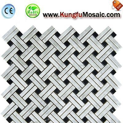 Basketweave White Stone Mosaic Marble Tile