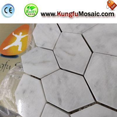 Bathroom Hexagon Carrara Mosaic Sheet MCARRARA0038