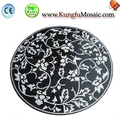 Black Round Waterjet Marble Mosaic MWJ0029