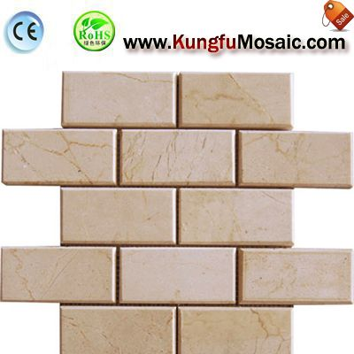 Brick Beige Marble Mosaic Tile Bathroom