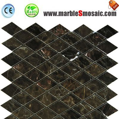 China Dark Emperador Marble Mosaic Diamond