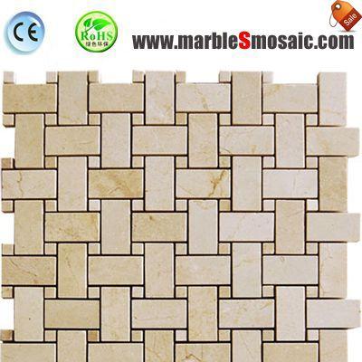 Crema Marfil Marble Mosaic Basketweave Tiles