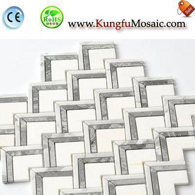 Mosaico de mármol de la raspa de arenque blanco cristalino