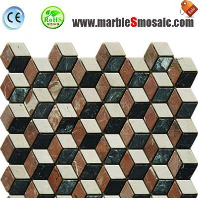 Green And Red 3D Marble Mosaic Tile