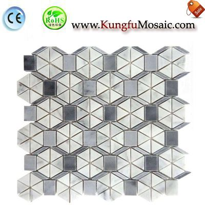 Grey Marble With Carrara Hexagon Mosaic Tile MCARRARA0039