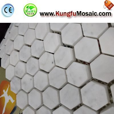 Hexagon Marble Mosaic Flooring Tile MCARRARA0039