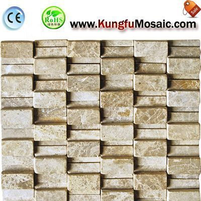 High and Low 3d Beige Marble Mosaic M3d0032