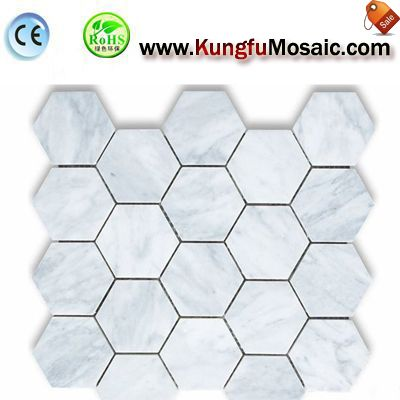 Polish Marble Hexagon Mosaic Tile MCARRARA0038