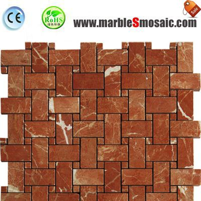 Red Marble Mosaic Basketweave Tiles