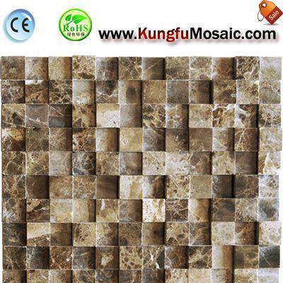 Square 3D Dark Emperador Marble Mosaic