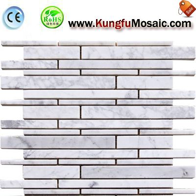 White Carrara Stone Mosaic Tile Strip