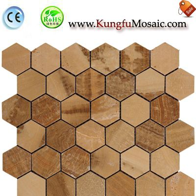 Wooden Yellow Marble Mosaic Hexagon MCARRARA0040