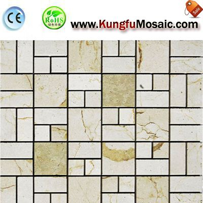 Brick Beige Marble Mosaic Tile Backsplash