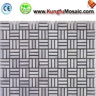 Drei Reihen graue Marmor Mosaike Stein