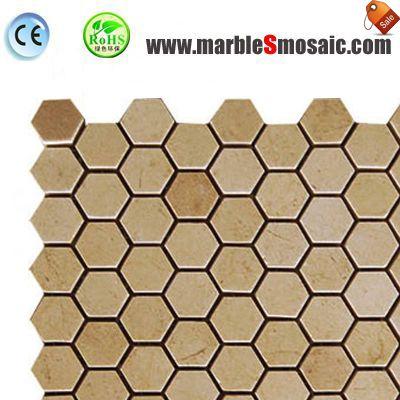 Yellow Hexagon Marble Mosaic For Shower Floor