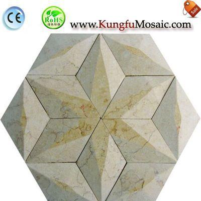 3D Hexagrama Beige mármol mosaico M3d0036