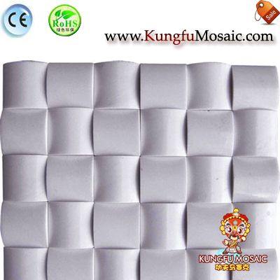 3D White Marble Mosaic Bread Shape