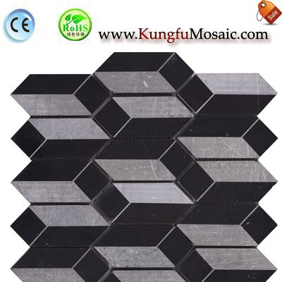 BLack Grey Bath Marble Mosaic Tile