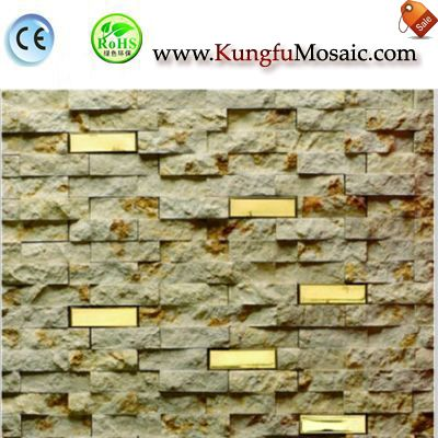 Beige Split Marble Mosaic With Metal MHX0021