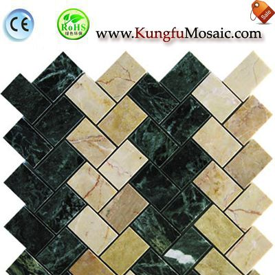 Big Flower Green Marble Mosaic Brick