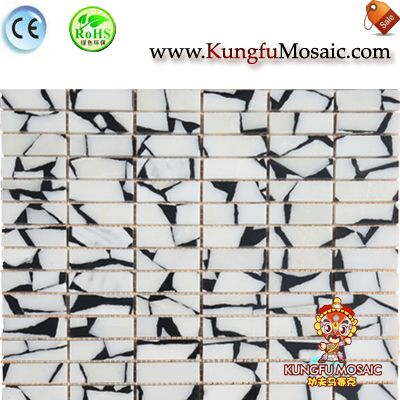 Black White Brick Stone Mosaic Tile