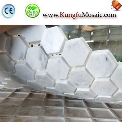 Hexagon Carrara Marble Mosaic Floor MCARRARA0041