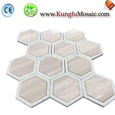Hexagon Wooden Marble Mosaic Floor