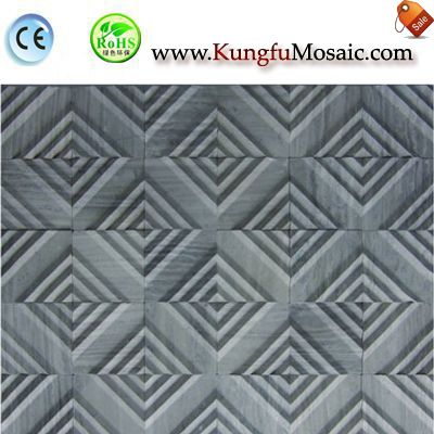Labyrinth 3D Grey Marble Mosaic Tile M3d0040
