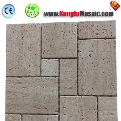 Roman Pattern Beige Travertine Mosaic Tile MTRT006