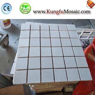 Quadratischer Ziegel hellen Marmor Mosaik Blatt MSM0024