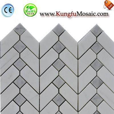 White Herringbone Stone Mosaic Panel MHE0012