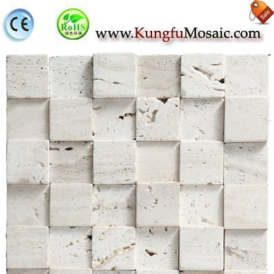 White Travertine Mosaic Tile Brick MTRT003