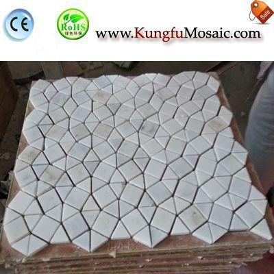Tuile de mosaïque en marbre blanc irrégulier MWJ0038
