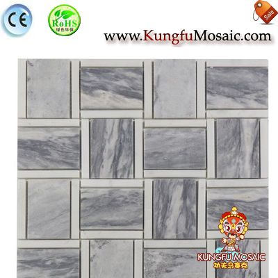 Bathroom Marble Mosaic Square In Grey