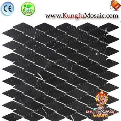 Diamond Strip Black Bathroom Marble Mosaic