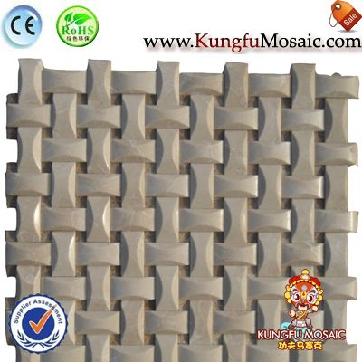 3D Basketweave Marble Mosaic Sheet