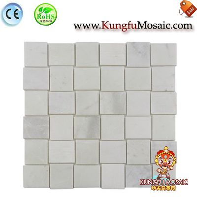 3D Twisted Square White Marble Mosaic
