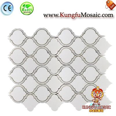 Arabesque White Marble Mosaic Floor Tile