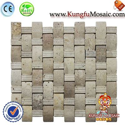 Basketwave Travertine Mosaic Wall Tile