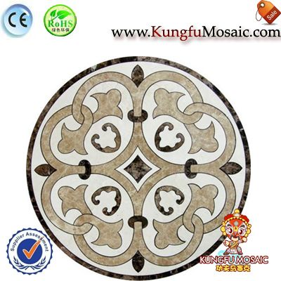 Chorro de agua redonda beige mosaico de mármol