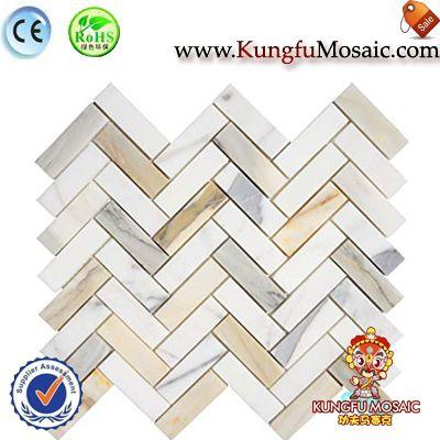 Мозаика Плитка мраморная стена Calacatta золото