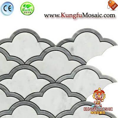 Cloudy Wave White marble tile backsplash